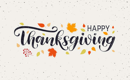 Happy Thanksgiving Day typography vector design for greeting cards and poster on textured autumn leaves background. Happy Thanksgiving lettering, inscription, label 일러스트