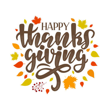 Happy Thanksgiving text on colorful autumn background. Modern Thanksgiving lettering composition as template, greeting card, label, social media post.