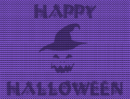 Happy halloween knitted vector illustration with pumpkin