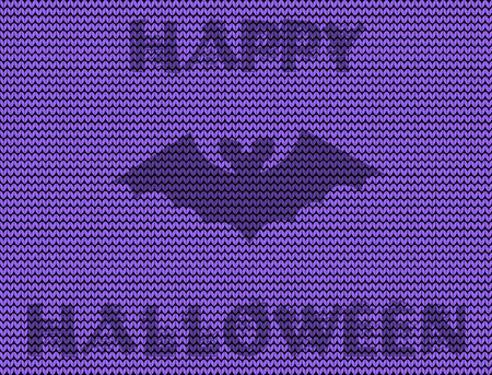 Happy halloween illustration of bat silhouette on violet knitted background.
