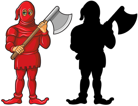 Vector illustration of executor in red costume holding axe and his silhouette isolated on white background. Иллюстрация