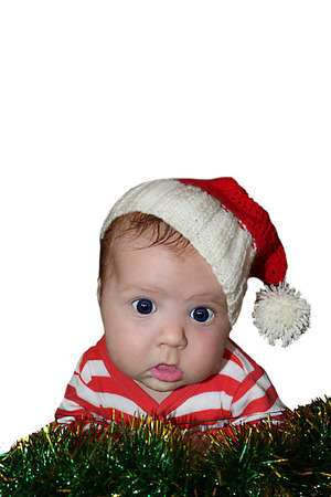 Cute Santa girl with dumbfounded face in red santa hat and stripped red jacket isolated on white background. Can be used for design of banners, flyers, calendars, invitations as clip art. Stock fotó