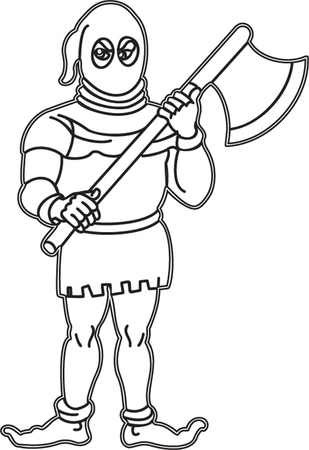 Vector outline  illustration of executor holding axe in hands isolated on white background. Icon, clip art.