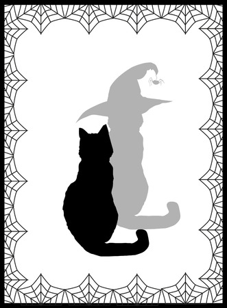 Black silhouette of cat and his shadow in witch hat on white background framed with spiderweb. Vector illustration. Ilustrace