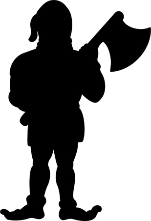 Black silhouette of executor holding axe in hands  isolated on white background.Vector illustration, icon, clip art.