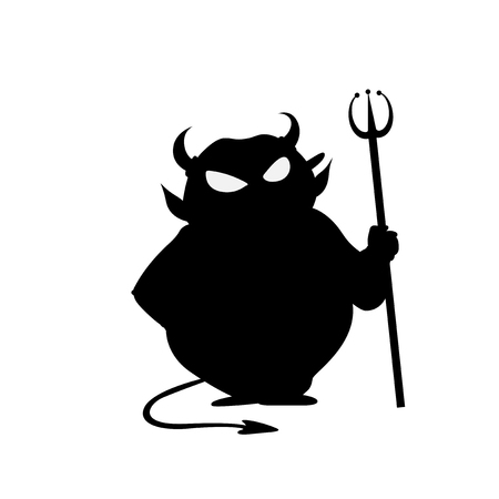 deuce: Devil with trident halloween vector icon illustration isolated on white background.