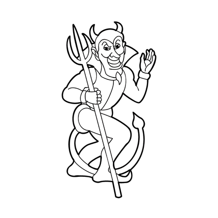 Vector outline  silhouette of devil holding trident isolated on white background.Vector illustration, icon, clip art. Illustration