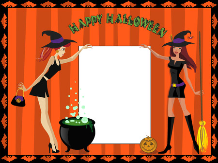 Happy Halloween template of two cute young witches with white sheet as space for text. Halloween greeting card or invitation.