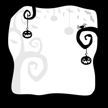 Halloween template for design.Card or background with pumpkins, trees, bats, spider and space for text. Vector illustration. Illustration