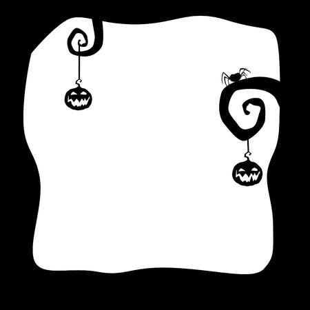 Halloween grens voor ontwerp. Zwart op witte kaart of achtergrond met pompoenen, spin en ruimte voor tekst. Vectorillustratie. Stock Illustratie