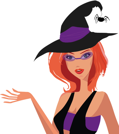 Vector illustration of a young red headed adorable witch in hat with a spider, fashioned glasses and opened top with a hand up isolated on white background. Clip art.