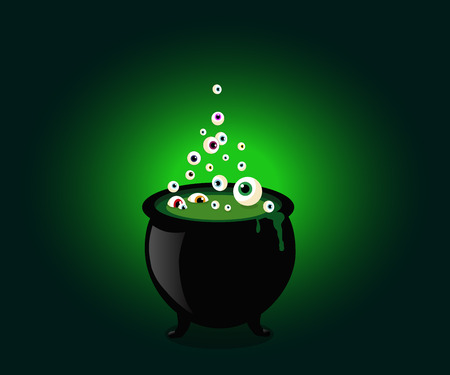 Halloween witch cauldron with bubbling green goo and boiling eye balls.