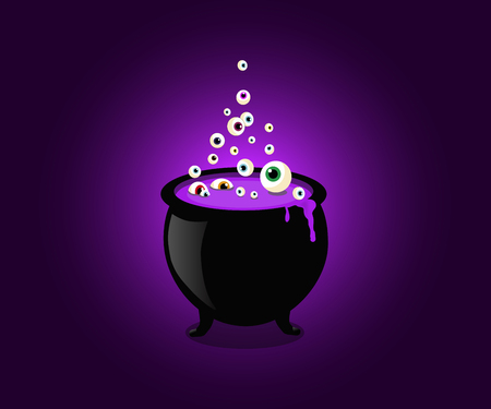 Halloween witch cauldron with bubbling purple goo and boiling eye balls.