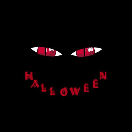 Halloween card. Red predatory monster eyes and word halloween in shape of smile on black background. Vector illustration.