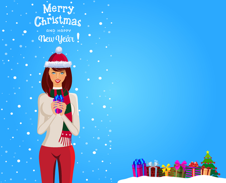 Christmas and new year greeting card of cute girl with brown hair in santa hat and scarf holding gift on blue snowy background with space for text and writing merry christmas and happy new year. Illustration