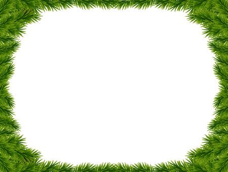 벡터 크리스마스 트리 분기 및 텍스트위한 공간을 배경. 현실적인 전나무 트리 테두리, 흰색 격리 된 프레임. 크리스마스 카드, 배너, 전단지, 파티 포