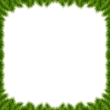 Achtergrond met vector christmas tree takken en ruimte voor tekst. Realistische sparrengrens, frame dat op wit wordt geïsoleerd. Geweldig voor kerstkaarten, banners, flyers, feestaffiches. Stock Illustratie