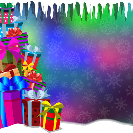 Vector bokeh glowing background with heap of gifts standing on snow and falling snow flakes. Vector illustration, border, template with space for text.