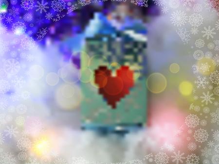Fondo borroso mágico con luces, copos de nieve y caja de regalo con corazón rojo. Ilustración vectorial, plantilla, marco con espacio para texto. Foto de archivo - 88619098