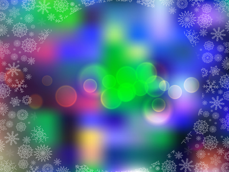 Glowing blurred background with colored lights and snow flakes frame. Vector illustration, border, framework with space for text.