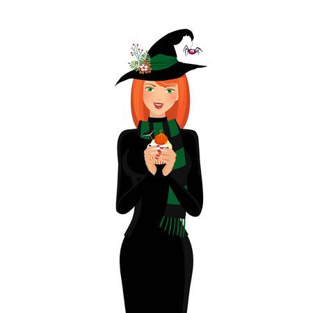 spells: Halloween vector illustration of young witch with long  ginger hair and green eyes holding cupcake isolated on white background. Cartoon witch illustration, clip art. Illustration