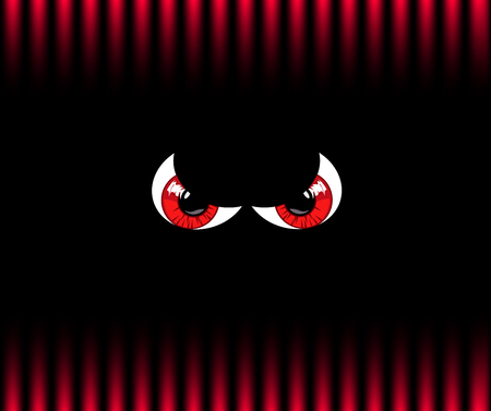 Red angry monster eyes on black and red gradation striped pattern background. Vector illustration, poster, banner.