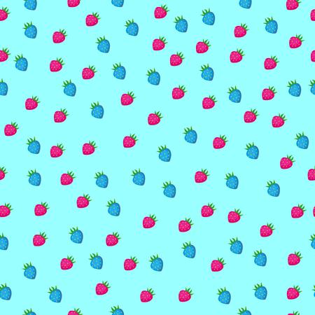 Strawberry seamless pattern on light blue background. Vector illustration. Illustration