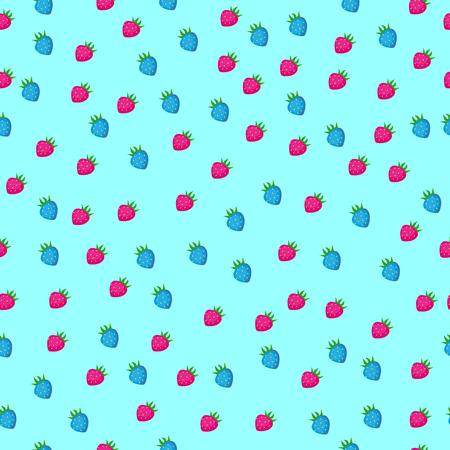 Strawberry seamless pattern on light blue background. Illustration