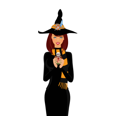 Halloween vector illustration of young witch with long brown hair and blue eyes holding cupcake isolated on white background. Cartoon witch illustration, clip art.