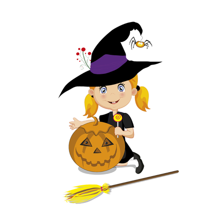Vector illustration of cute  little witch in halloween costume with pumpkin jack, lollipop and broom isolated on white background. Illustration
