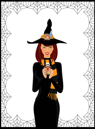 Halloween vector illustration of young witch in long black dress, scarf and hat decorated with flowers holding cupcake isolated on white background framed with spiderweb. Vector illustration, clip art Illustration