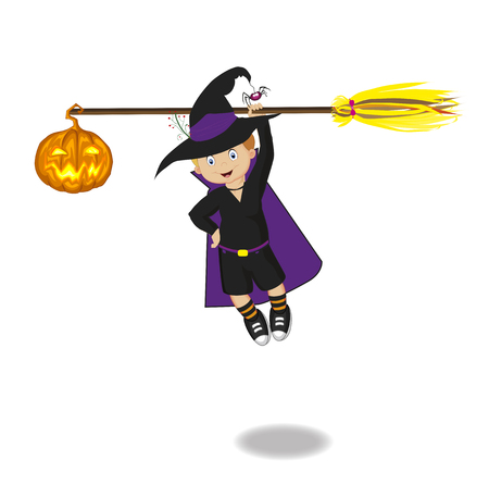 spells: Vector illustration of boy in halloween costume flying on broomstick with pumpkin. Clip art. Illustration