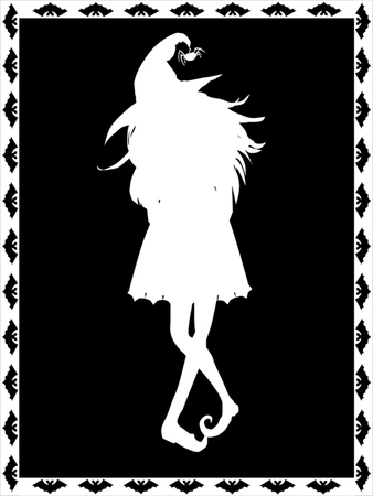spells: White silhouette of witch on black background framed with the bats. Halloween vector illustration. Illustration