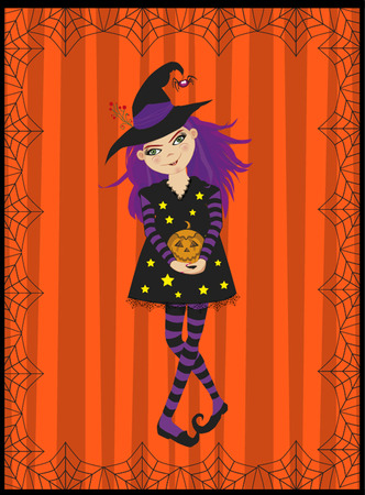 Vector illustration of young witch and pumpkin   on striped orange background framed with spiderweb ornament. Cute cartoon witch in striped stockings holding pumpkin jack.