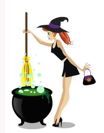 Cute young witch with cauldron and broomstick isolated on white background.