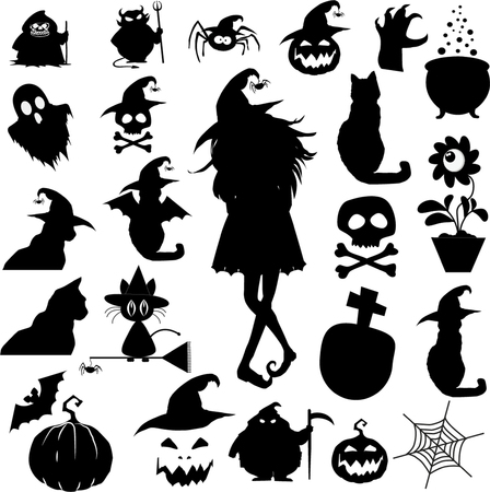 Big halloween set of black icons isolated on white background. Vector illustration. Иллюстрация