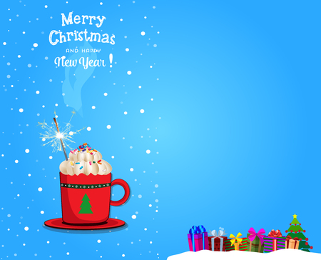 Christmas and new year card with space for text. Vector illustration of cute cartoon red cup with hot drink and sparkler on blue snowy background with gifts.