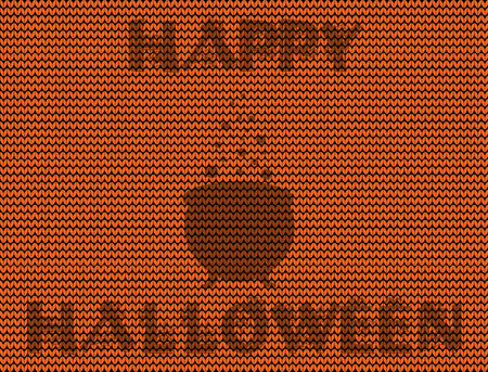 Happy halloween vector illustration of witch cauldron silhouette on orange knitted background.
