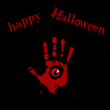 Bloody hand print with red monster eye inside on black background with happy halloween text. Vector illustration, card, invitation.