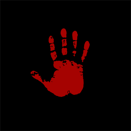 Bloody hand print isolated on black background. Vector illustration, icon, clip art. Çizim