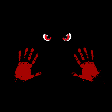 Bloody hand prints and red monster eyes on black background. Vector illustration.