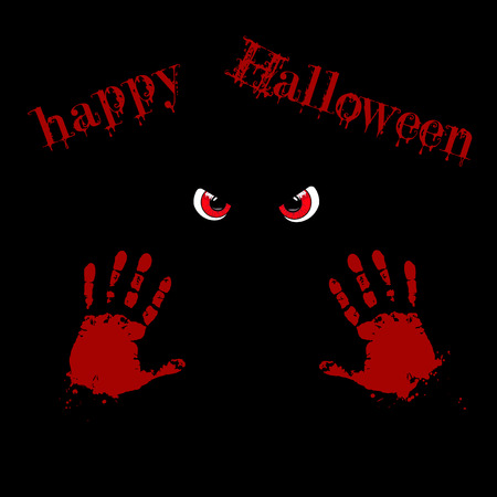 Bloody hand prints and red monster eyes on black background with happy halloween text. Vector illustration, card, invitation. Illustration