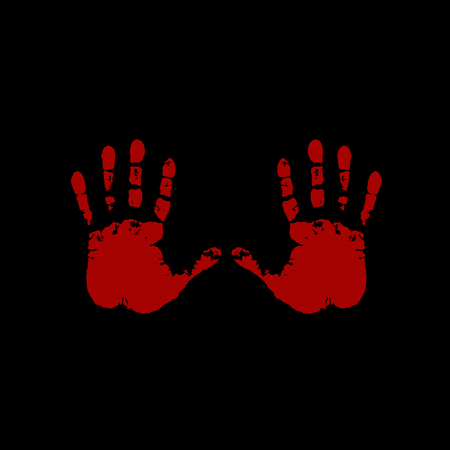 Bloody hand prints on black background. Vector illustration, icon, clip art.