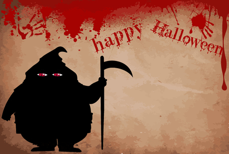 Executor silhouette with predatory screwed up red  eyes on bloody grunge background with text and space for text. Happy halloween vector  illustration, framework, template.