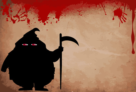 Executor silhouette with predatory screwed up red  eyes on bloody grunge background with space for text. Halloween vector  illustration, framework, template.