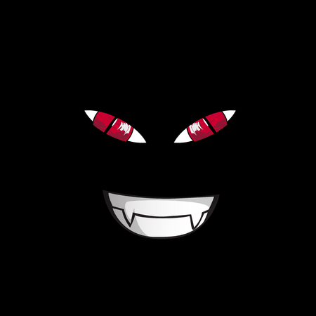 screwed: Monster face on black background. Red screwed-up predatory eyes and vampire smile isolated on black background. Vector illustration, clip art.