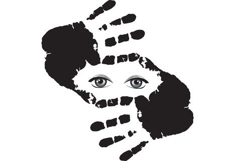 Augen hinter der Hand. Standard-Bild - 88890044