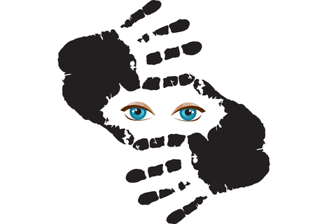 Eyes behind the hand.