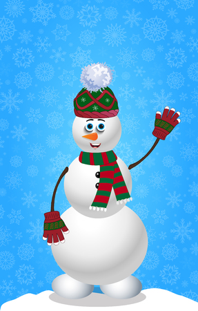 Cute cartoon snowman in knitted hat, mittens and striped scarf on blue snowy background template with space for text. Illustration