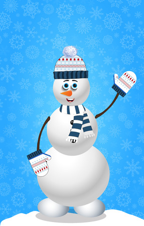 Cute cartoon snowman in knitted white hat and mittens and striped scarf on blue snowy background template with space for text.